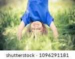 happy little girl standing... | Shutterstock . vector #1096291181