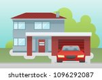 cottage house with garage and...   Shutterstock .eps vector #1096292087