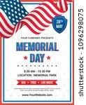 memorial day poster templates... | Shutterstock .eps vector #1096298075