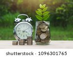 Coins In Glass Jar With Young...
