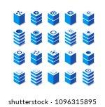 3d set server network... | Shutterstock .eps vector #1096315895