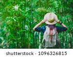 a woman with a backpack and a... | Shutterstock . vector #1096326815