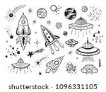 space vector set. hand drawn... | Shutterstock .eps vector #1096331105