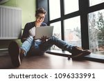 student working with laptop... | Shutterstock . vector #1096333991