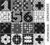 scrapbook numbers on patchwork... | Shutterstock .eps vector #1096345655