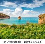colorful spring view of sidari... | Shutterstock . vector #1096347185