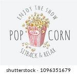 popcorn with typography slogan | Shutterstock .eps vector #1096351679