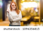 beautiful young redhead woman... | Shutterstock . vector #1096356815