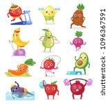 fruits sportsman vector fruity... | Shutterstock .eps vector #1096367591
