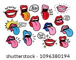 new youth lips with tongue... | Shutterstock .eps vector #1096380194