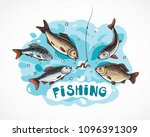 illustration about fishing in... | Shutterstock .eps vector #1096391309
