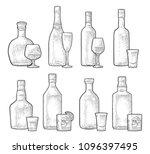 set glass and bottle whiskey ... | Shutterstock .eps vector #1096397495