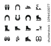 shoe icon. collection of 16... | Shutterstock .eps vector #1096410077