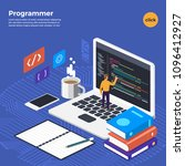 flat design concept programmer... | Shutterstock .eps vector #1096412927