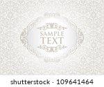vintage white frame on damask... | Shutterstock .eps vector #109641464