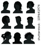 set of silhouettes of heads 7 ... | Shutterstock .eps vector #109641974