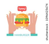 hamburger. delicious fast food. ... | Shutterstock .eps vector #1096425674