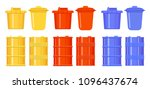 barrels and buckets in the... | Shutterstock .eps vector #1096437674