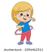 kid playing hula hoop.vector... | Shutterstock .eps vector #1096462511