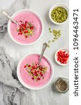 smoothie bowl with chia seeds ... | Shutterstock . vector #1096463471