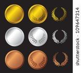 three detailed vector medals  ... | Shutterstock .eps vector #109647314