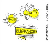 set of flat shaped sale banners ... | Shutterstock .eps vector #1096481087
