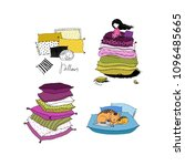 set with pillows. bed linen.... | Shutterstock .eps vector #1096485665