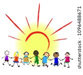happy kids holding hands of... | Shutterstock .eps vector #1096488671