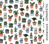 hand drawing home plants in... | Shutterstock .eps vector #1096493741