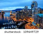 Stock photo night scene of modern buildings in vancouver downtown british columbia canada 109649729
