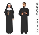 Vector Catholic Priest And Nun...