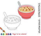 tasty porridge with fruits in... | Shutterstock .eps vector #1096505561