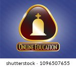 gold emblem or badge with... | Shutterstock .eps vector #1096507655