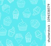seamless pattern with cupcakes... | Shutterstock .eps vector #1096538579