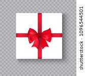 realistic gift box with red bow ... | Shutterstock .eps vector #1096544501