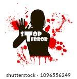 no war. stop terror. bloody... | Shutterstock .eps vector #1096556249
