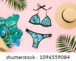 bikini swimsuit with tropical... | Shutterstock . vector #1096559084