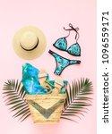 bikini swimsuit with tropical...   Shutterstock . vector #1096559171