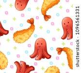 tempura and sausage seamless... | Shutterstock .eps vector #1096561331