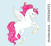 white girl unicorn with pink... | Shutterstock .eps vector #1096566551