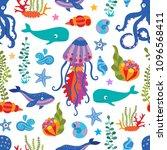 lovely vector seamless pattern... | Shutterstock .eps vector #1096568411
