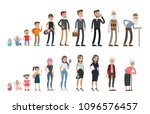 life stages set. man and woman. ... | Shutterstock . vector #1096576457