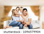 beautiful smiling family... | Shutterstock . vector #1096579904