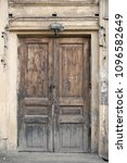 beautiful old wooden door with... | Shutterstock . vector #1096582649