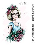 hand drawn beautiful young... | Shutterstock .eps vector #1096584404
