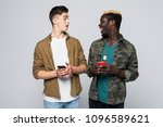 two multiracial friends use... | Shutterstock . vector #1096589621