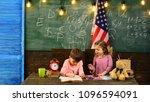 teacher helping kids with... | Shutterstock . vector #1096594091