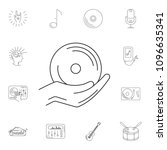 music disk on hand icon. simple ... | Shutterstock .eps vector #1096635341