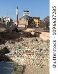 Small photo of SOFIA, BULGARIA - MARCH 17, 2018: Banya Bashi Mosque and ruins of ancient Serdica in Sofia, Bulgaria