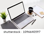 mockup laptop and office...   Shutterstock . vector #1096640597